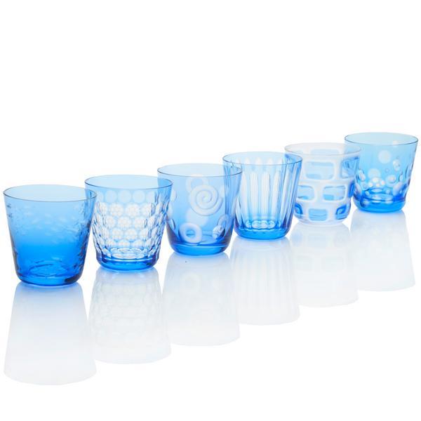 Rotter Glas Hellblaue Becher, Größe M