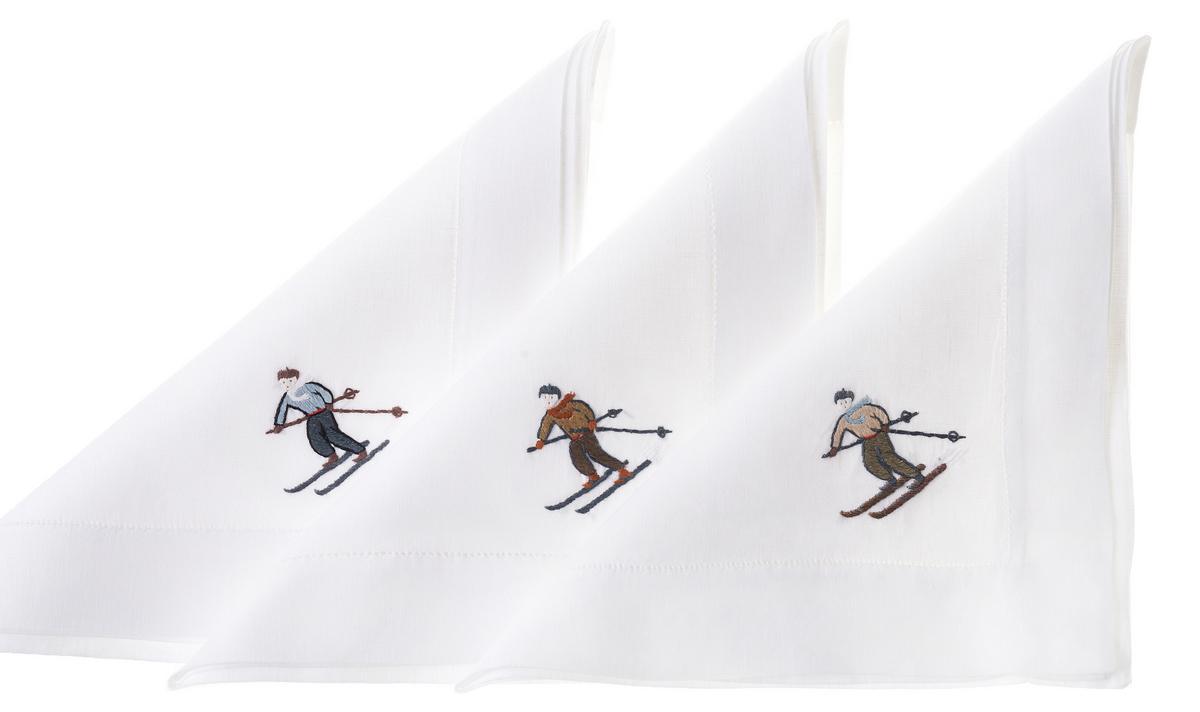 """Leinentischwäsche """"Skifahrer"""""""