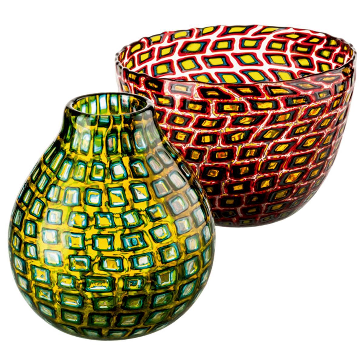 """Schale und Vase """"Murrine Romane"""""""