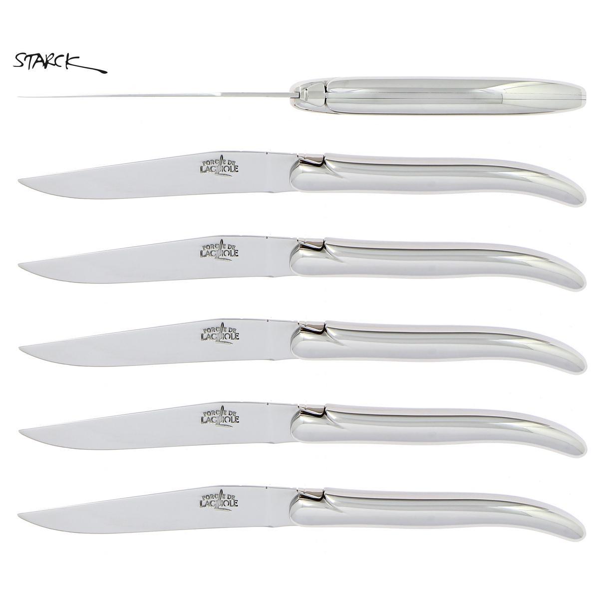 forge de laguiole philippe starck steak knives set of 6 artedonacom - Laguiole Steak Knives