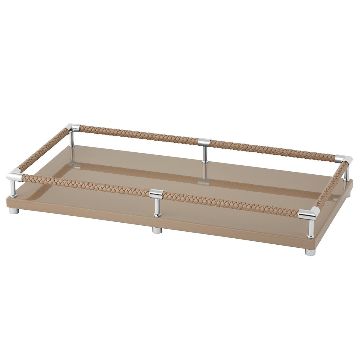 Riviere vanity decorative tray with leather handles taupe for Decorative bathroom tray