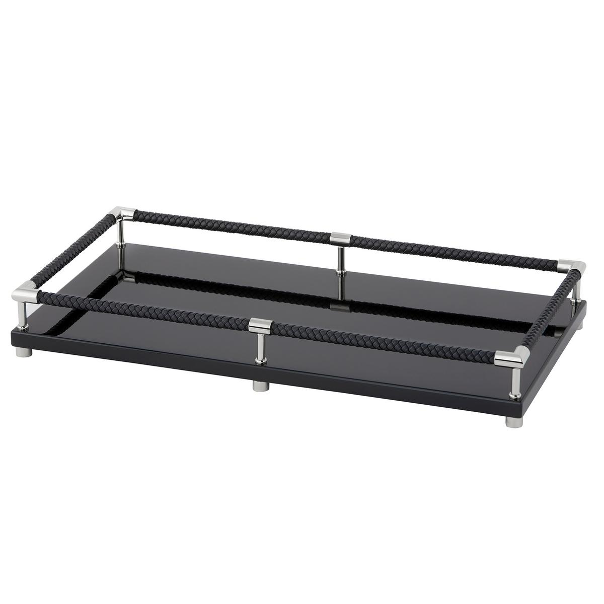 Riviere vanity decorative tray with leather handles black - Bathroom accessories vanity tray ...