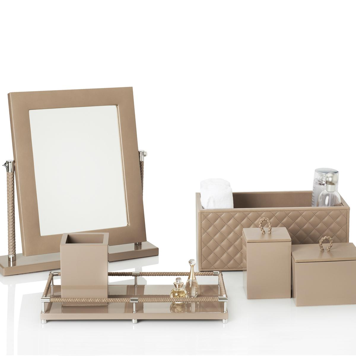 Riviere Vanity Bathroom Accessories Taupe