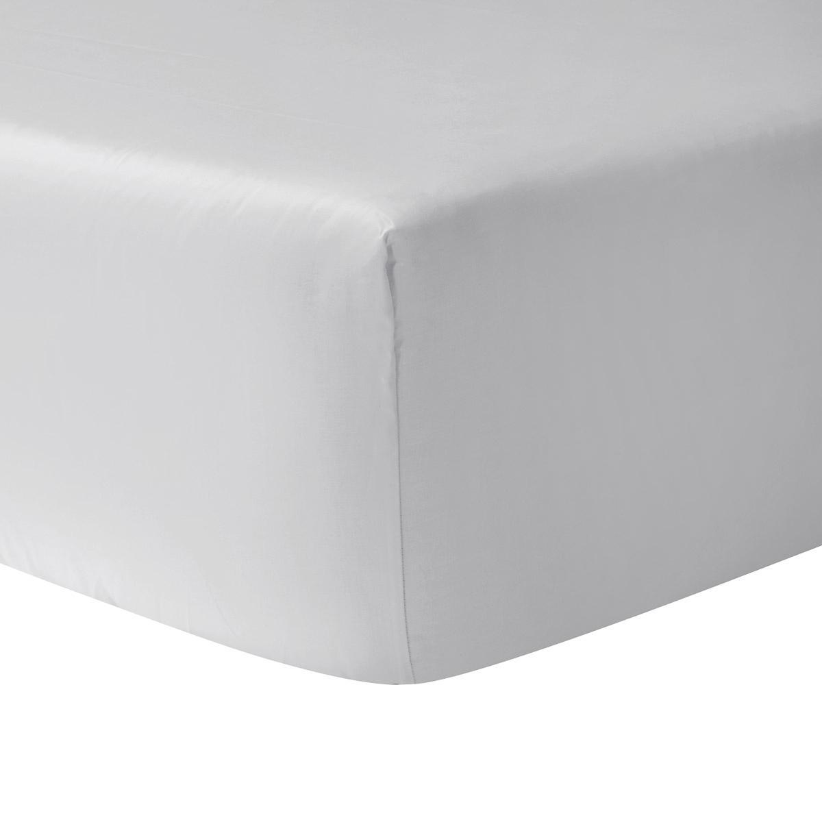 Bedombouw 180 X 220.Christian Fischbacher Satin Fitted Sheet Light Grey 305 180 X