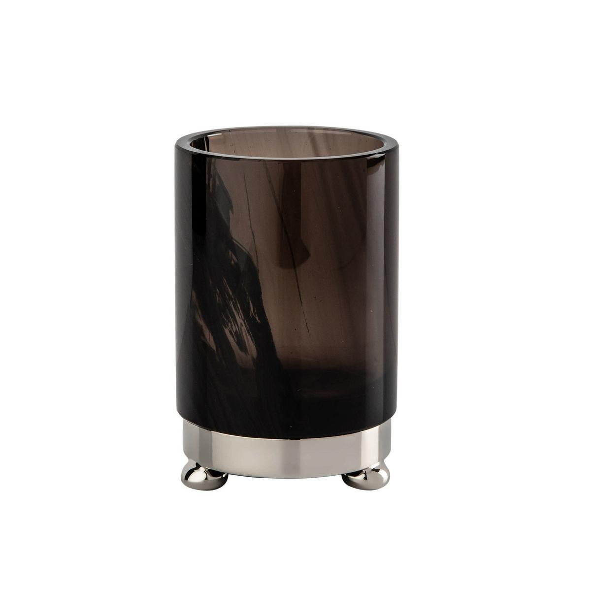 Cristal et bronze obsidian toothbrush holder chrome for Bronze bathroom accessories