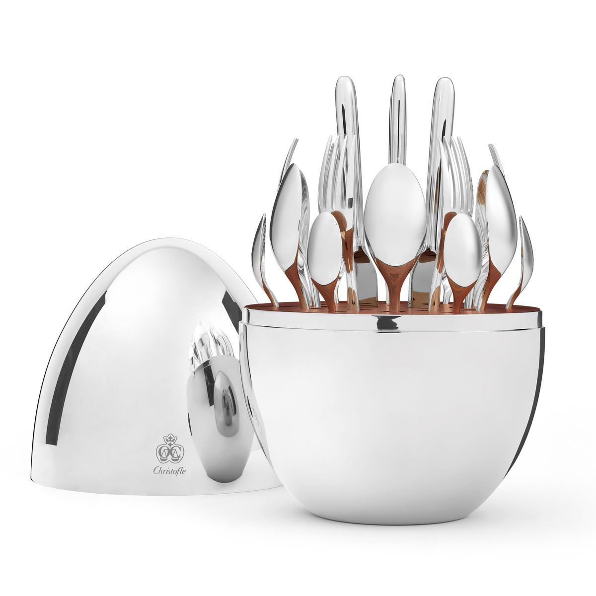 Christofle mood 24 piece silverplated cutlery set in egg - Couvert de table inox ...