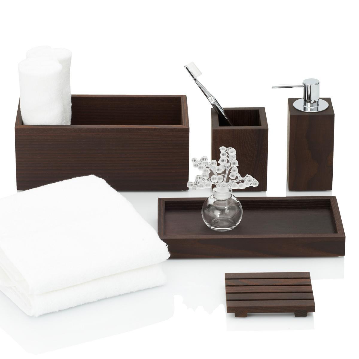 Decor walther wood bathroom accessories dark thermo ash for Wooden bathroom accessories