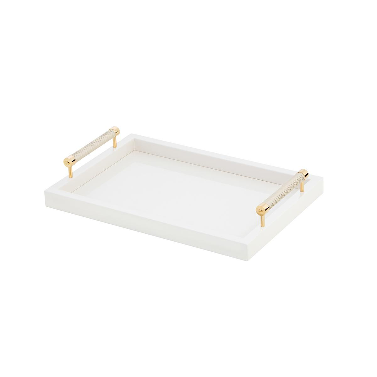 Graphic Tray Handcrafted From Ivory And: Riviere Lacquered Tray With Gold/leather Handles, Ivory