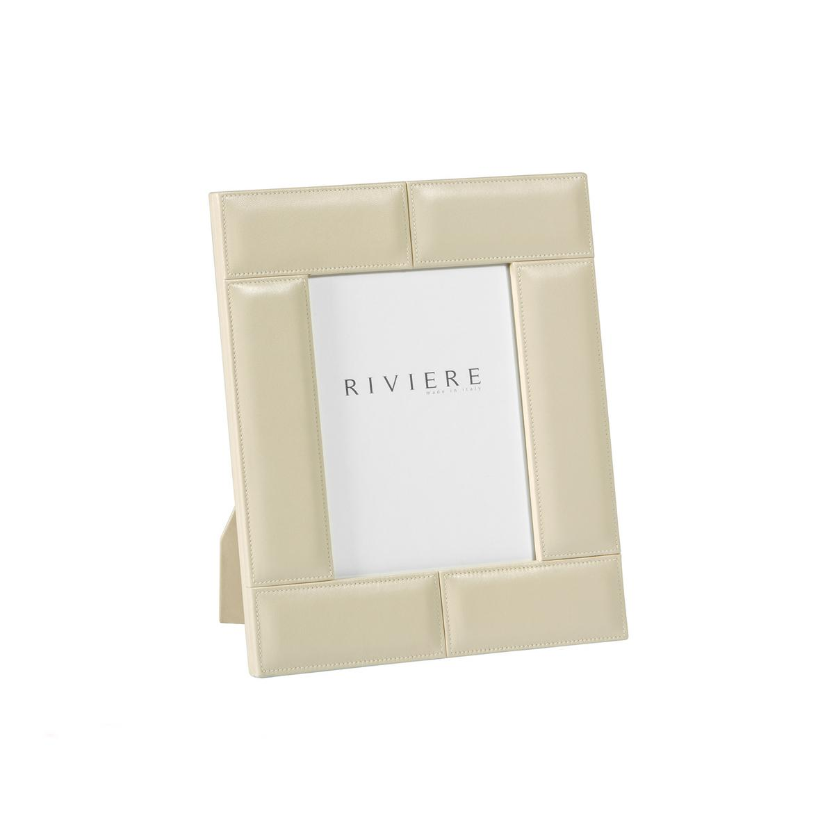 Riviere Stitches leather frame, ivory, photo size 13 x 18 cm (5\'\' x ...