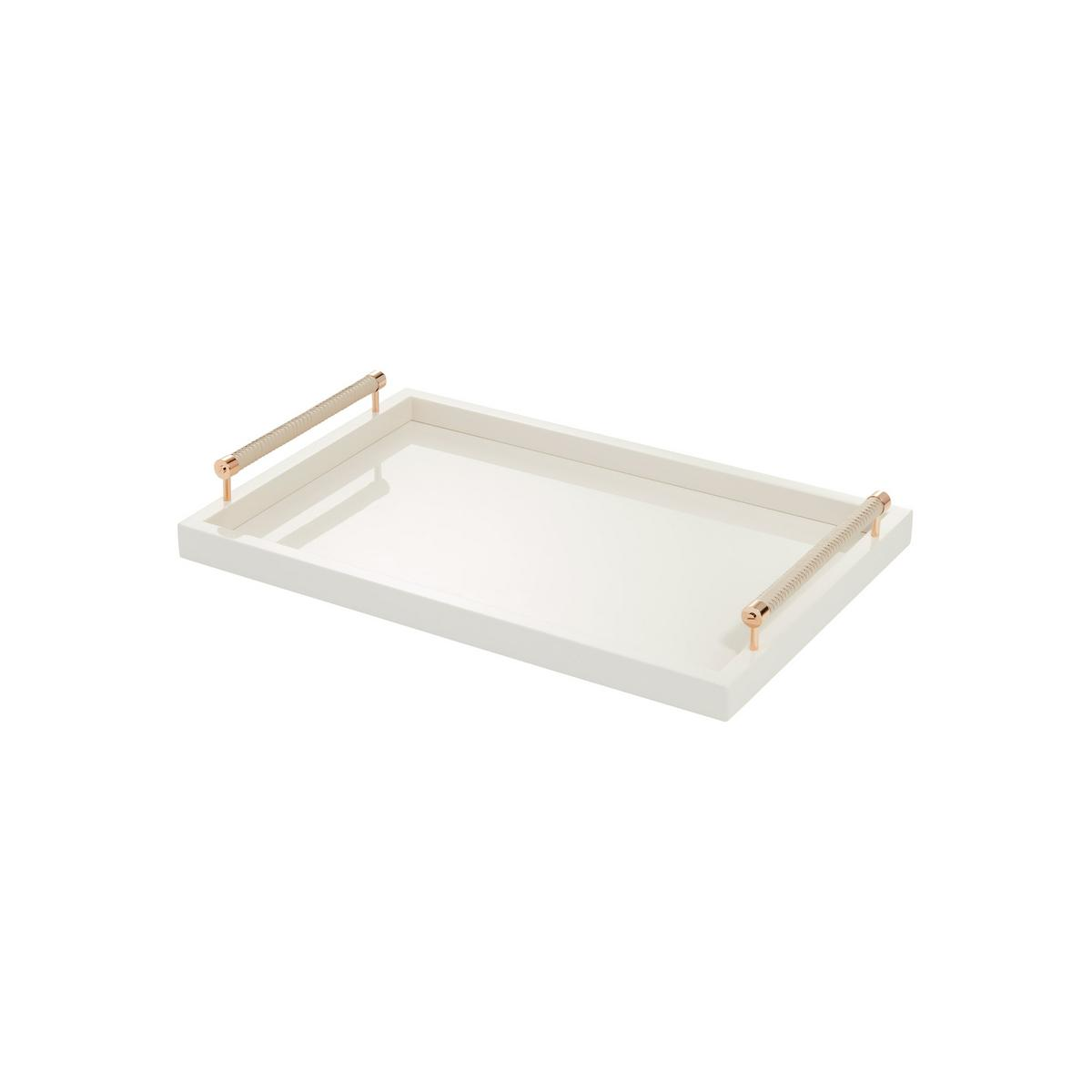 Graphic Tray Handcrafted From Ivory And: Riviere Lacquered Trays With Leather Handles