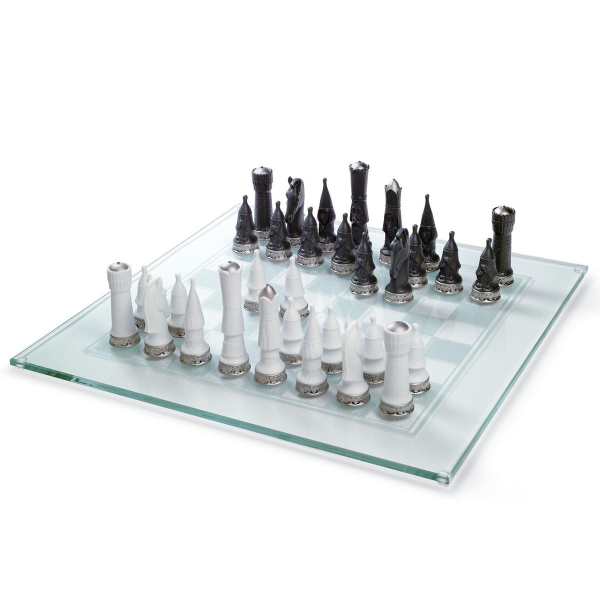 Lladr Glass Chess Board With Pieces