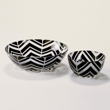 """Herringbone"" black trinket bowls"