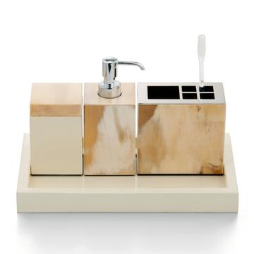 """""""Horn & lacquer"""" bath accessories, ivory"""