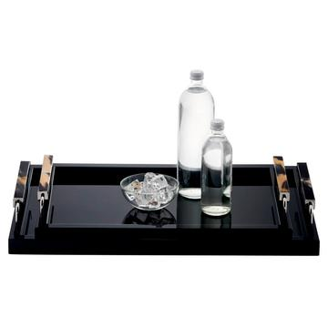 Black lacquered trays with horn handles