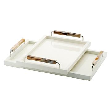 Lacquered trays with pale horn handles