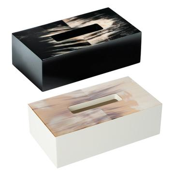 """""""Horn & lacquer"""" tissue box covers"""