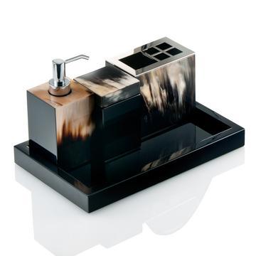 """Horn & lacquer"" bath accessories, black"