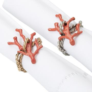 """Coral"" napkin rings, set of 4"