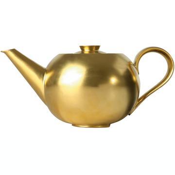 Teekanne, komplett vergoldet mit Teesieb