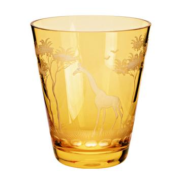"Becher ""Kilimandscharo"" orange, Schliff Giraffe"