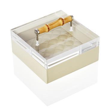 Lederbox in Elfenbein mit Bambusdeckel