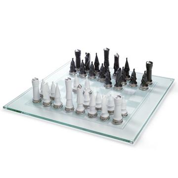 Glass chess board with pieces