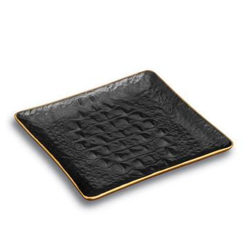 """Crocodile Gold"" quadratisches Tablett"
