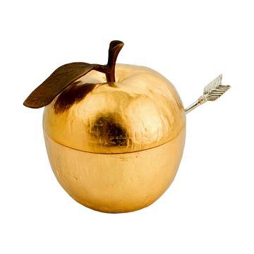 "Honigdose ""Apple"" mit Löffel, vergoldet"