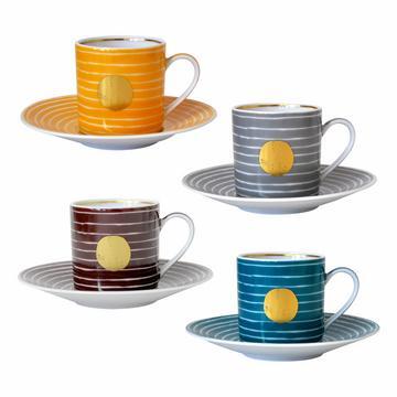 """""""Aboro"""" Set aus 4 Espressotassen mit Unterteller, 4 Farben"""