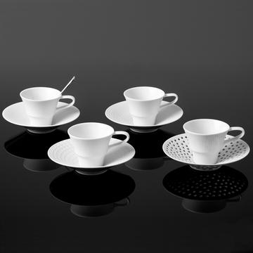 """Hering"" set of 4 espresso cups and saucers"