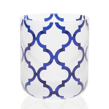 """Teelichthalter """"Arabesque"""", dunkelblau, Mitte sandgestrahlt"""