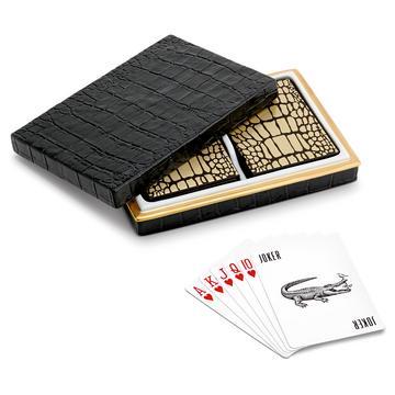 "Spielkarten-Box ""Crocodile Gold"""