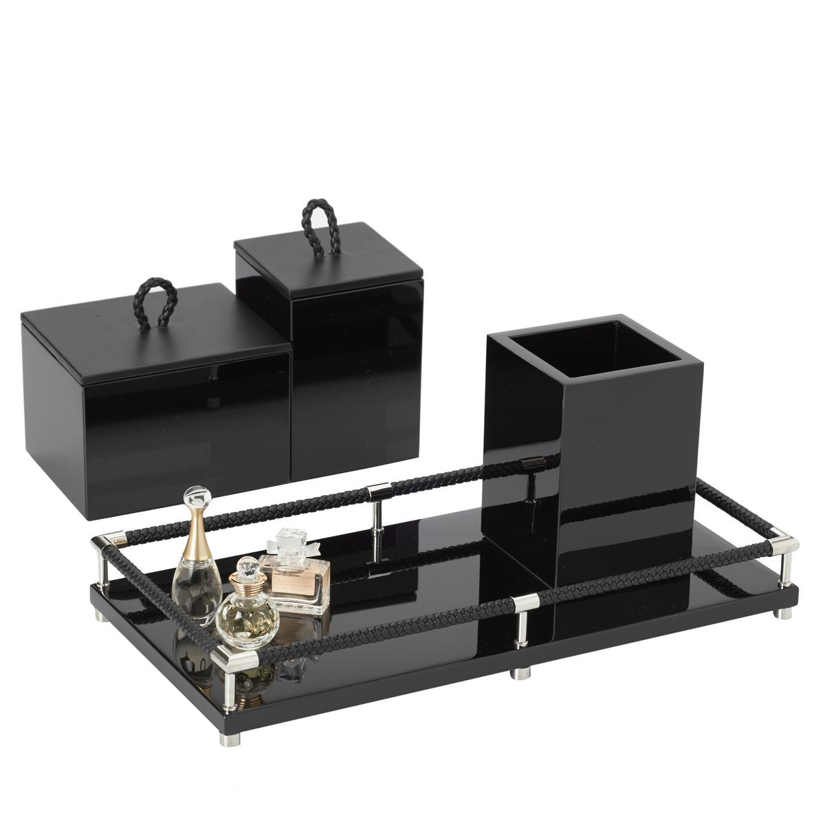 Riviere vanity bathroom accessories black for Bathroom vanity accessories