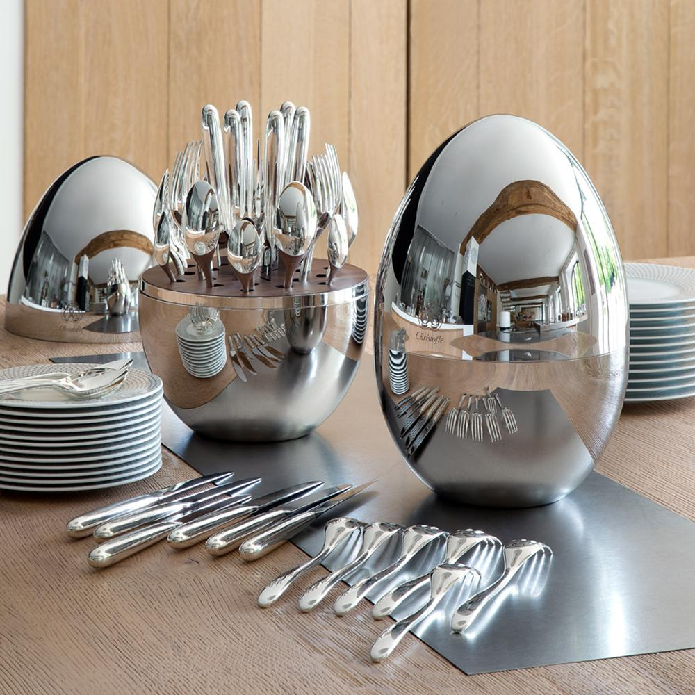 US $ 1250.00 & Christofle Mood 24-piece silverplated cutlery set in egg case ...