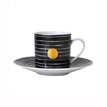 """""""Aboro"""" Espressotasse mit Unterteller, schwarz"""